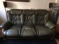 2 x Sofa real leather green with wood