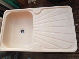 Sink with drainer for caravan, camper or motorhome