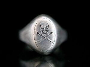 Mason Skull & Bones Siegel Totenkopf Ring Silber 835 Memento Mori