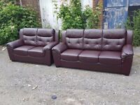 Comfy 1 month old brown leather sofa suite.3 and 2 seater sofas.clean and tidy.as new.delivery