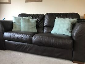 2 and 3 seater chocolate brown leather sofas