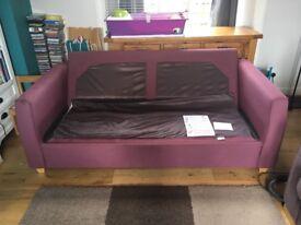 John Lewis burgundy 3 seater sofa bed