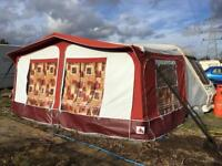 Size 9 Dorema Awning set with steel poles, draft skirt, curtains and storm straps