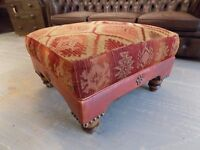 Tetrad Eastwood Footstool Leather and Fabric