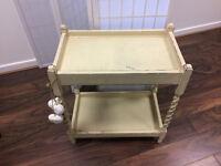 Wooden Kitchen Trolley - Butler Trolley (Old Ochre/Cream Paint)