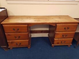 Solid Pine 6 Drawer Desk/Dressing Table