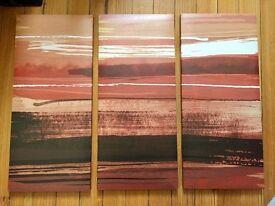 Canvas Modern Art Prints - Sunset - Red/Orange/Cream - Set of three - 85cm x 60cm