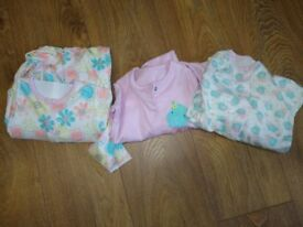 3 Pack girls Sleep suits (9- 12 Months)- Brand new