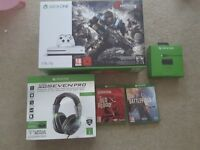 Xbox one S 1tb console plus 2 games and turtle beach headset