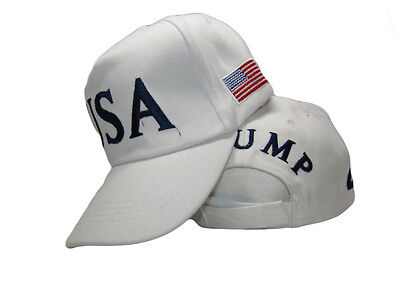 45th President Donald Trump USA American White Embroidered Cap Hat