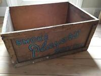 Vintage 'Players' wooden cigarette crate / storage box