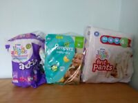 Pampers nappies & Little Angels Pull ups Size 4, 4+&5+