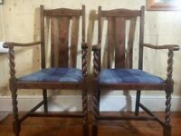Pair of High Back Vintage Chairs