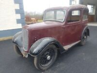 1937 Austin 7 Ruby Saloon **barn find** classic restoration project