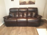 Three seater sofa leather.recliner real leather cost 1400 only 2 year old mint condition dark brown