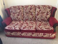 Red and cream floral fabric sofa/ settee, 1 three seater & 2 one seaters, good condition