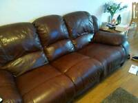 2 & 3 seater brown leather reclining sofa