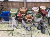 Garden Pots, Figures. From £4 each
