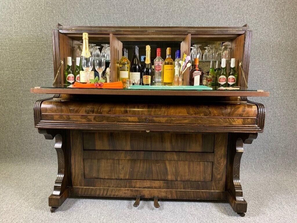 Piano Cocktail Bar Walnut Drinks Cabinet Home Bar Antique Vintage