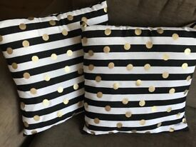Black & white stripe, gold polka dot cushions