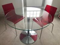 Glass top dining table & two chairs