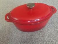 Denby Graded cherry cast iron casserole pan