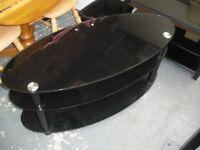 BLACK GLASS OVAL TV STAND