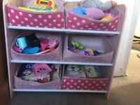 Girls pink toy storage