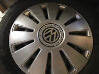 VW Tyres with Wheel Trims x 2