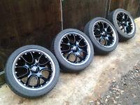"17"" Genuine Mini Cooper Black-Polished Split Alloy Wheels Good Tyres 205/45/17"