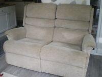 2 seater reclining settee + 1 recline chair.
