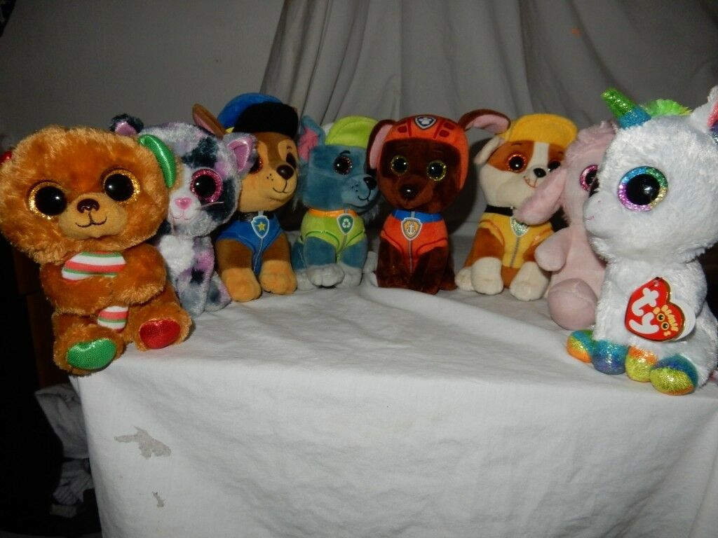 TY BEANIE BOOS PAW PATROL PLUSH SOFT TOY ROCKY RUBBLE CHASE ZUMA Unicorn  white f6d8840b978