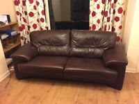 Klaussner Brown Leather Sofa