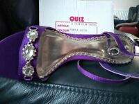 Ladies evening/prom shoes (size 4) purple satin