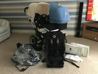 Bugaboo donkey duo off white & ice blue colour way