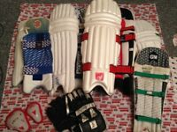 4 Pairs Cricket pads 2 Adult 2 Junior + wicket keeping gloves + Borderline Bag +