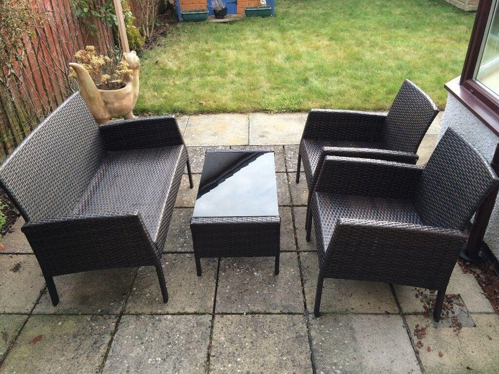 Garden furniture set bench glass table 2 chairs dark brown ratan