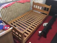 2 x solid wood pine single beds, will sell individually. No matresses.