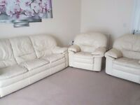 Leather 3 seater sofa and leathers 2 armchairs