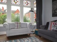 Grey NEXT 2 Seater Sofa With Scroll Arms & Scatter Cushions