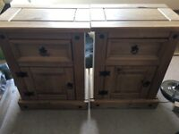 Set of two bedside tables pine