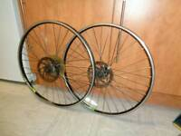 A set of 26 inch (alexrims) mountain bike disc wheels