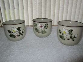 Three made in Korea decorative round glazed bowls H 10cms, Top diameter 10cms in mint unused .......