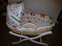 Moses basket with quality wooden stand