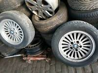 Bmw 520 525 528 1998 1997 4 x alloy wheels original 16 inch with tyres good