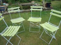 Four Used French Bistro Style Folding Garden Chairs