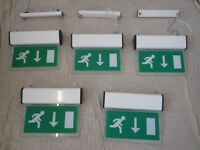 Fire Exit Signs, Hanging, Illuminated x5