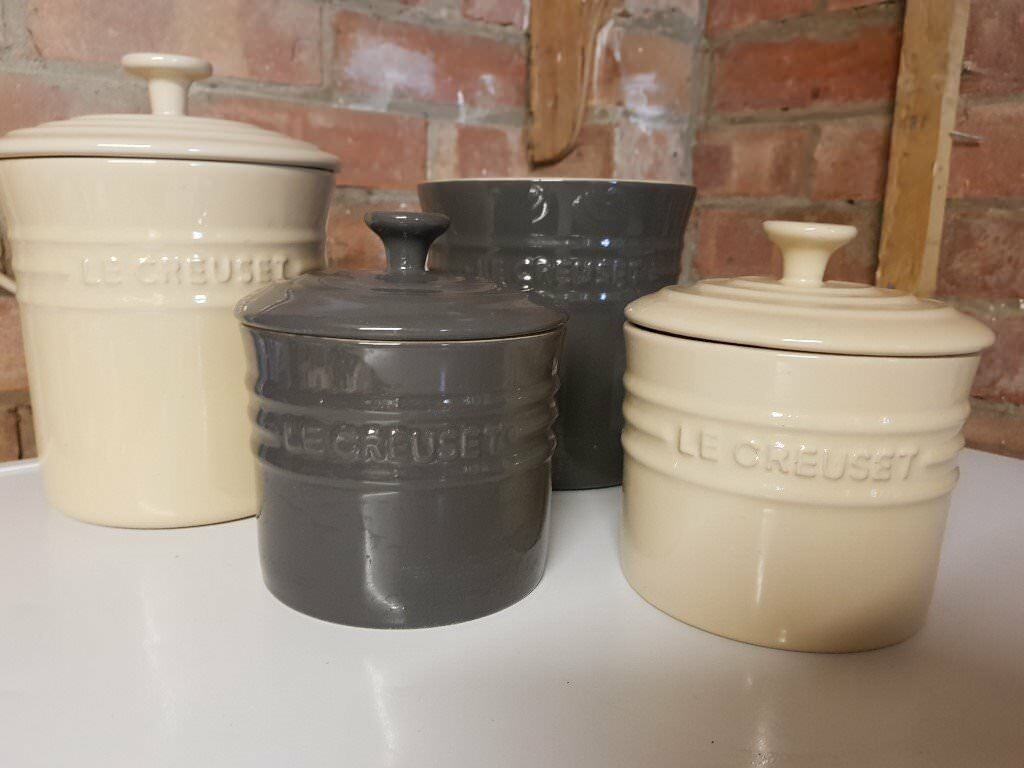 A Set Of Cream Dark Grey Le Creuset Kitchen Ceramic Jars Canisters Pots
