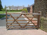 Two wooden drive gates, both approx 8 feet by 4 feet 6 inches high. Available singly or as a pair.