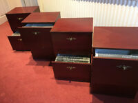 4 x Mahogany effect 2 drawer filing canbinets